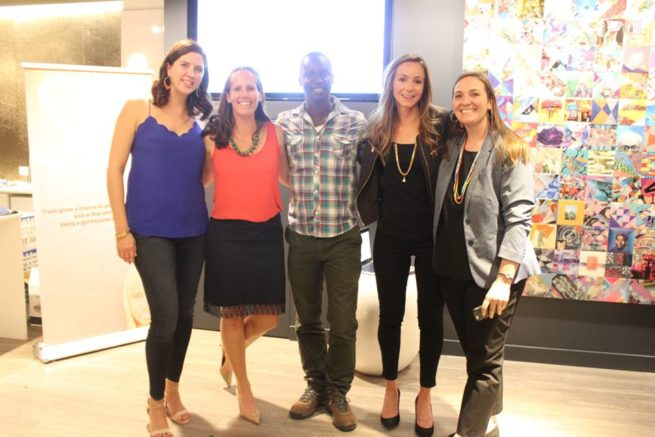 TFE co-founders Megan and Jessica pose with Edwin and Leila of Flying Kites and Jenni of Daraja Academy at the event.