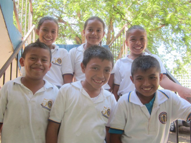 Anderson with his classmates at school.