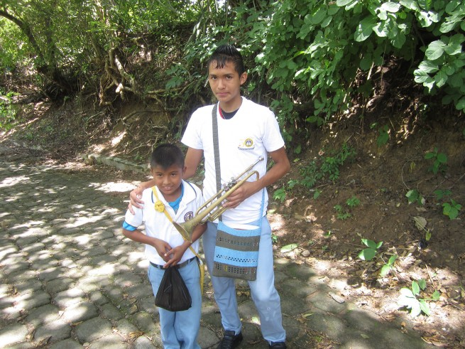 Anderson with his older brother Cristian. Cristian plays the trumpet in the school band.