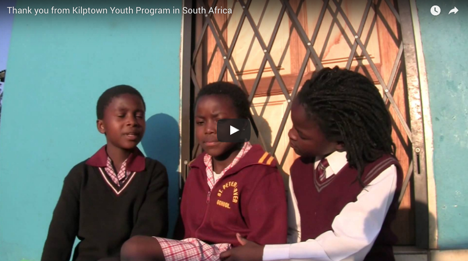 Thank You From Kilptown Youth Program in South Africa